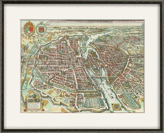 Paris 1615 Historic Vintage City Old Map 24x36