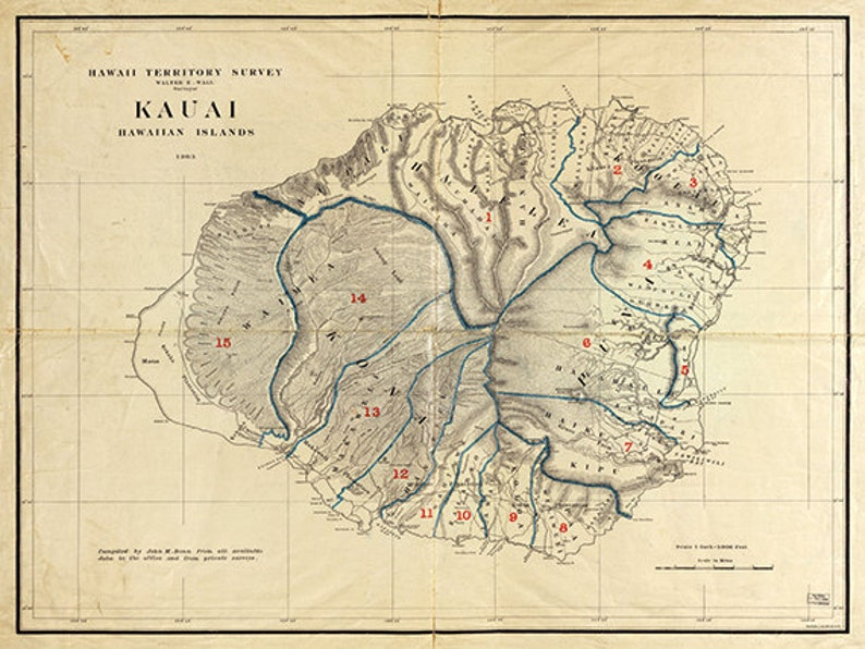 photograph about Printable Map of Kauai named Kauai Hawaii map print outdated maps Antique map poster map wall dwelling decor wall map basic Hawaii print nation map artwork substantial map artwork print