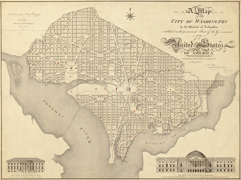 picture regarding Washington Dc Printable Map named Washington DC map print map traditional aged maps Antique map poster map decor property decor wall map metropolis previous prints washington dc print 12x16