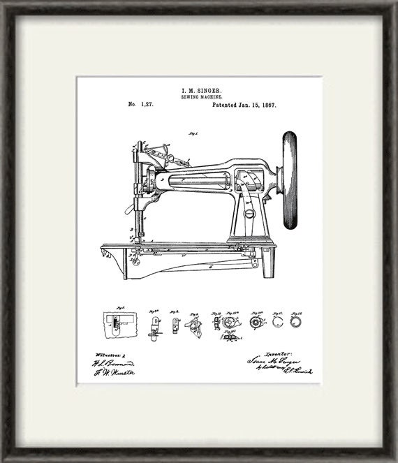 Singer Sewing Machine Art Patent Print Sewing Print Patent Etsy Custom Patent For Sewing Machine