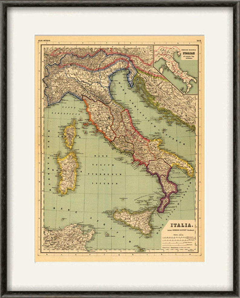 photograph about Printable Maps of Italy named Italian map print map typical previous maps Antique map poster map wall dwelling decor wall map italian print outdated prints italian decor superior map