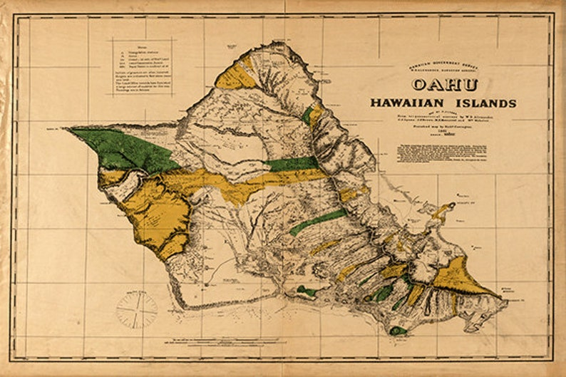 Oahu Hawaii Map Print Old Maps Antique Map Poster Map Wall Etsy