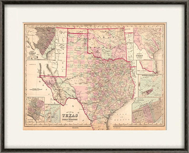 Old Map Of Texas.Texas State Map Print Map Vintage Old Maps Antique Prints Poster Map Wall Home Decor Wall Map Texas Decor Old Prints Large Maps12x16 Print