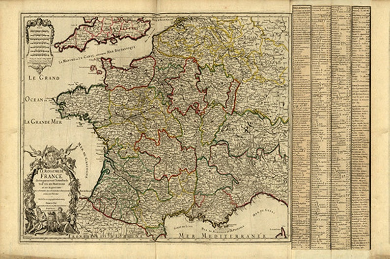 Old Map Of France.France Map Print Map Vintage Old Maps Antique Prints Poster Map Wall Home Decor Wall Map Large Map France Print Old Map France Decor 24 X 36