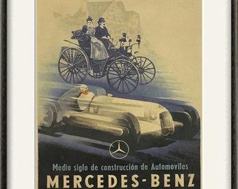 Mercedes Car print Antique prints car art home decor wall old prints Car wall decor old car art Wall poster art retro prints ad prints 12x16