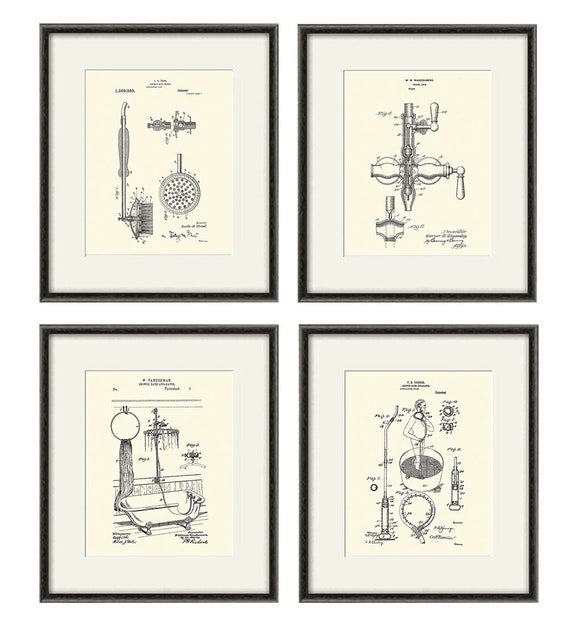 Bathroom Patent Art Print, Bathroom Art Print