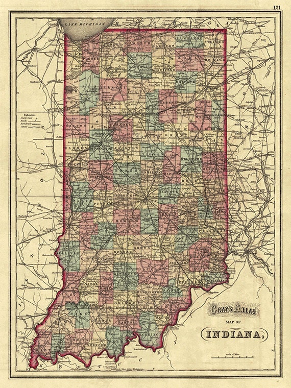 picture regarding Printable Map of Indiana titled Indiana map print country map common outdated maps Antique prints poster map wall house decor wall map Indiana print previous prints Indiana decor 12x16