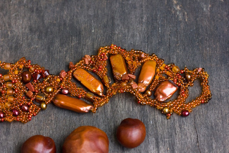 Autumn Statement Necklace Bracelet Set with Bright Orange Pearls and Copper Maple Seed Fall Gift
