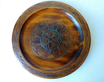 Frisian Carving Wooden Plate  Dutch Folk Art