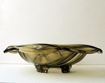 Art Deco Glass Center Piece Fruit Bowl