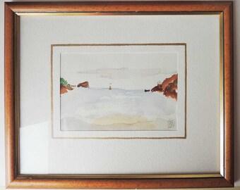 Original Seaside Watercolor French Matting