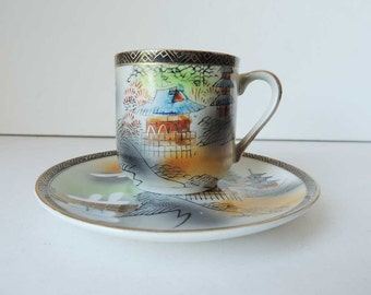 Japanese Lithophane Geisha  Cup Saucer Handpainted