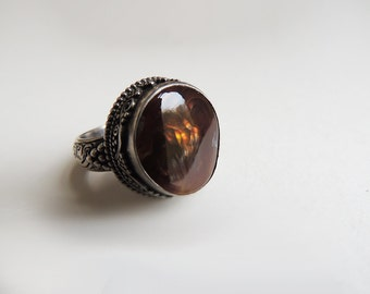 Fire Agate Silver Ring US 9.5