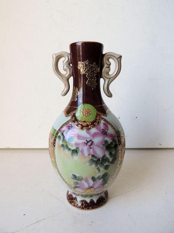 Porcelain Vase Satsuma Made In China Moriage Etsy