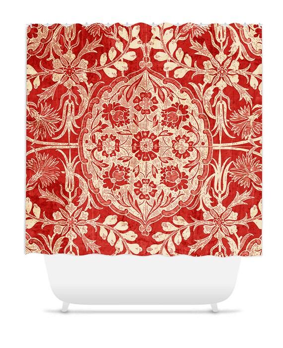 Prysznic Kurtyna Wystrój Wnętrz łazienka Decor Vintage Red Etsy