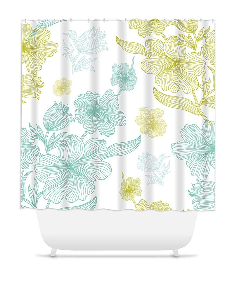 Shower Curtain Home Decor Bathroom Hibiscus Seaglass
