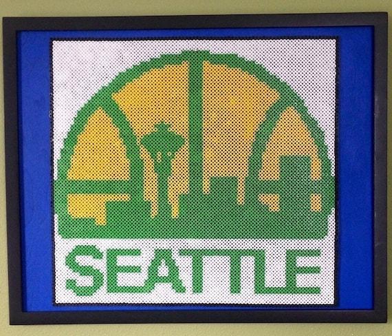 Seattle Supersonics Perler bead art, framed!