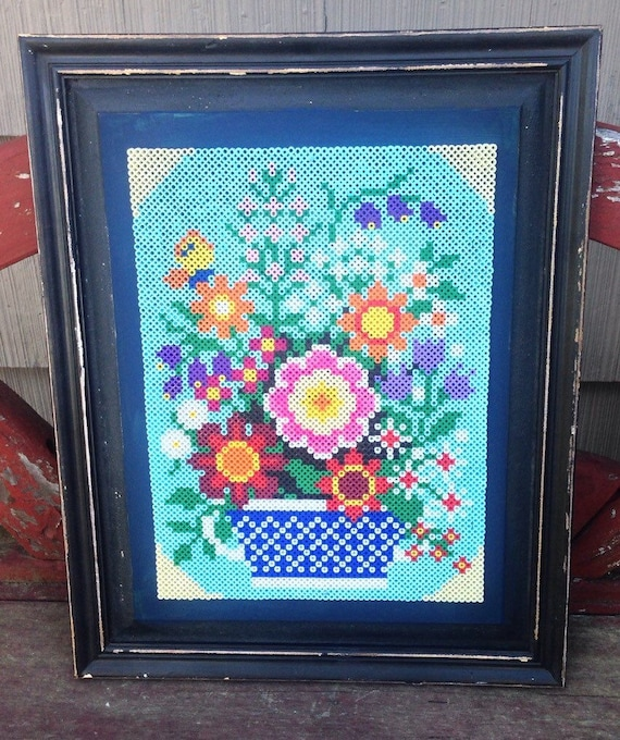 Country chic Perler bead art, flowers framed