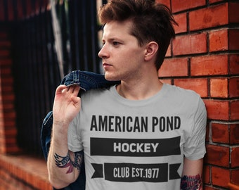 Hockey T Shirt American Pond Hockey Club Unisex Jersey Short Sleeve Tee Hockey Team Player Goalie
