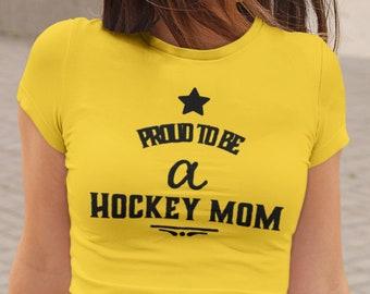 Hockey T Shirt Proud to be a Hockey Mom Unisex Jersey Short Sleeve Tee Ice Hockey Fans