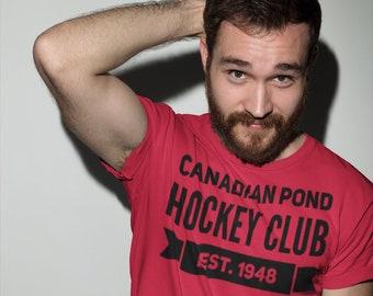 Hockey T Shirt Canadian Pond Hockey Club Unisex Jersey Short Sleeve Tee Hockey Team Player Coach Goalie