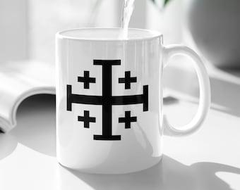Jerusalem Cross Coffee Mug 11oz Christian Faith Crusader Cross Religious Ceramic Cup Gospel Greek Crosses Cool