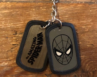 Keychain Spiderman Dog Tag Marvel Comics Spider man Key Ring Hero Dogtag vintage jewelry Spider-Man