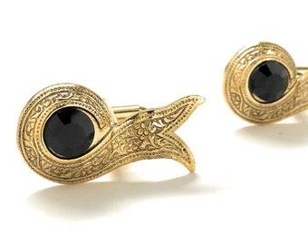 Persian Ribbon Cufflinks Embossed Gold Tone Black Crystal Cuff Links