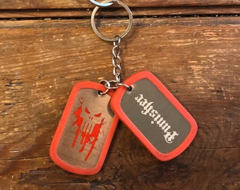 Keychain Punisher Dog Tag Marvel Comics Key Ring Skull Hero Dogtag vintage jewelry