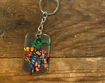 Keychain Avengers Dog Tag Marvel Comics Captain America Thor Key Ring Hulk Iron Man Hero Dogtag Key Chain vintage Tony Stark Superhero