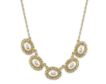 Vintage Estate Gold Tone Pearl Oval Collar Necklace Silk Road Jewelry