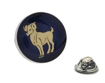 Aries Zodiac Enamel Pin Astrology Gifts, Blue Lapel Pin