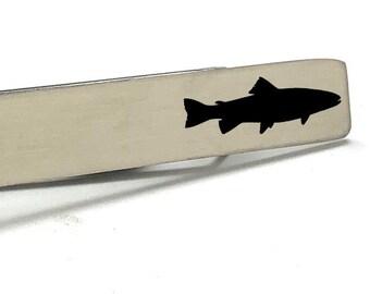 Fish Tie Bar Trout Tie Clip Silver Brush Tone Tie Bar Gift for the Fisherman Boyfriend Gift Gift for Dad Gifts for Him Fisherman gift