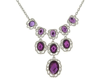 Drop Radiant Orchid Silver Tone Purple Faceted Filigree Statement Necklace  Silk Road Jewelry