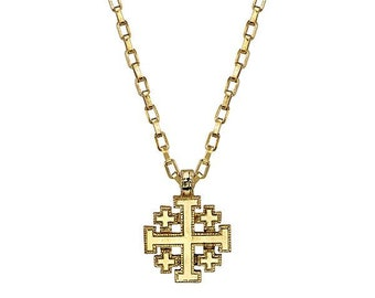 "Necklace Religious Cross Gold Jerusalem Cross Pendant 18"" Necklace Comes with Gift Box Faith Collection"