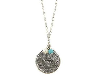 """Silver World of Peace Charm Necklace 16"""" Chain Silk Road Jewelry"""