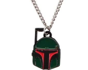Star Wars Necklace Boba Fett Helmet Bounty Hunter Dog Tag Men's Pendant Necklace vintage jewelry