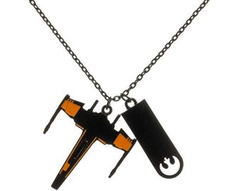 Dog Tag Star Wars Black Squadron X-Wing Rebel Necklace Double Dog Tag Men's Pendant Necklace vintage jewelry