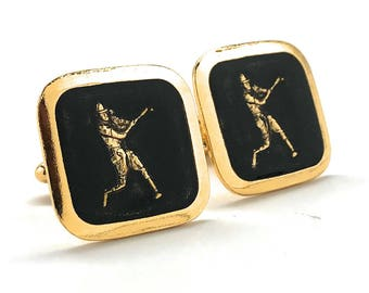 Antique Gold Tone Black Enamel Baseball Cufflinks Home Run Hitter Sport Champions Cool Cuff Links Comes with Gift Box