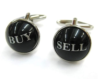 Buy Low Sell High Cufflinks Round Domed Black Stock Brokers Financial Cuff links Men's Cufflinks Cool Guy Gifts