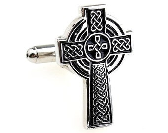 Celtic Cross Cufflinks Silver and Black Cuff Links