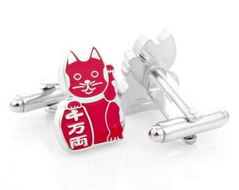 Red Japanese Cat Cuff LInks Lucky Cat Bring Health to Owner Cufflinks