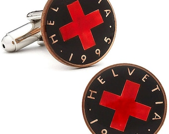 Birth Year Enamel Cufflinks Hand Painted Swiss Cross Authentic Currency Enamel Coin Jewelry from Switzerland Cuff Links Unique Gift Box