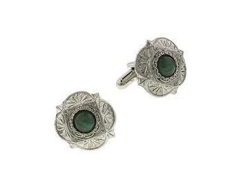 Jade Cufflinks Jewelry Scalloped Silver Tone Faux Jade Green Cufflinks Cuff Links