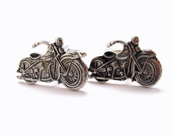 Gunmetal Vintage Motorcycle Cufflinks Hog Biker Road King Very Cool Famous Mechanic Cufflinks Comes with Gift Box Cuff Links