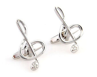 Silver Treble Clef Music Note Music with Crystal Piano Orchestra Conductor Cufflinks Cuff Links