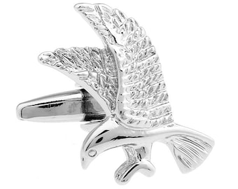 Mens Cufflinks Silver Tone Flying High North American Bald Eagle Bird Cuff Links Comes with Box