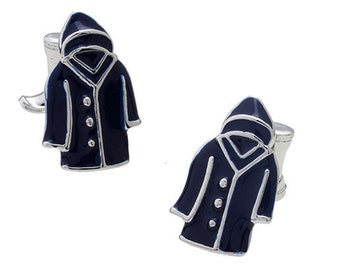 Raincoat Cufflinks Raining Days Water Coat with Boots as the Post Silver and Dark Blue Enamel Cuff Links