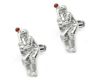 Sports Collection Cufflinks Cricket Player Hit the Ball Cuff Links 3D Fun Cool Cuff Links Comes with Gift Box