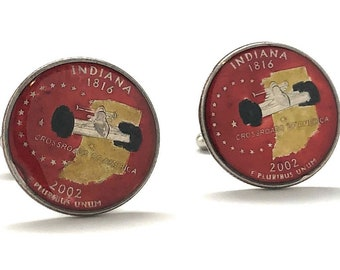 Birth Year Enamel Cufflinks Hand Painted Indiana State Quarter Enamel Coin Jewelry Money Currency Finance Accountant Cuff Links Red Edition